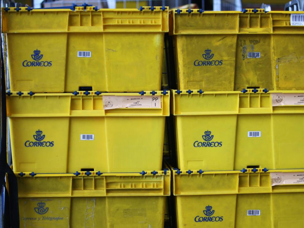 Cajas de Correos en una oficina de Zaragoza.