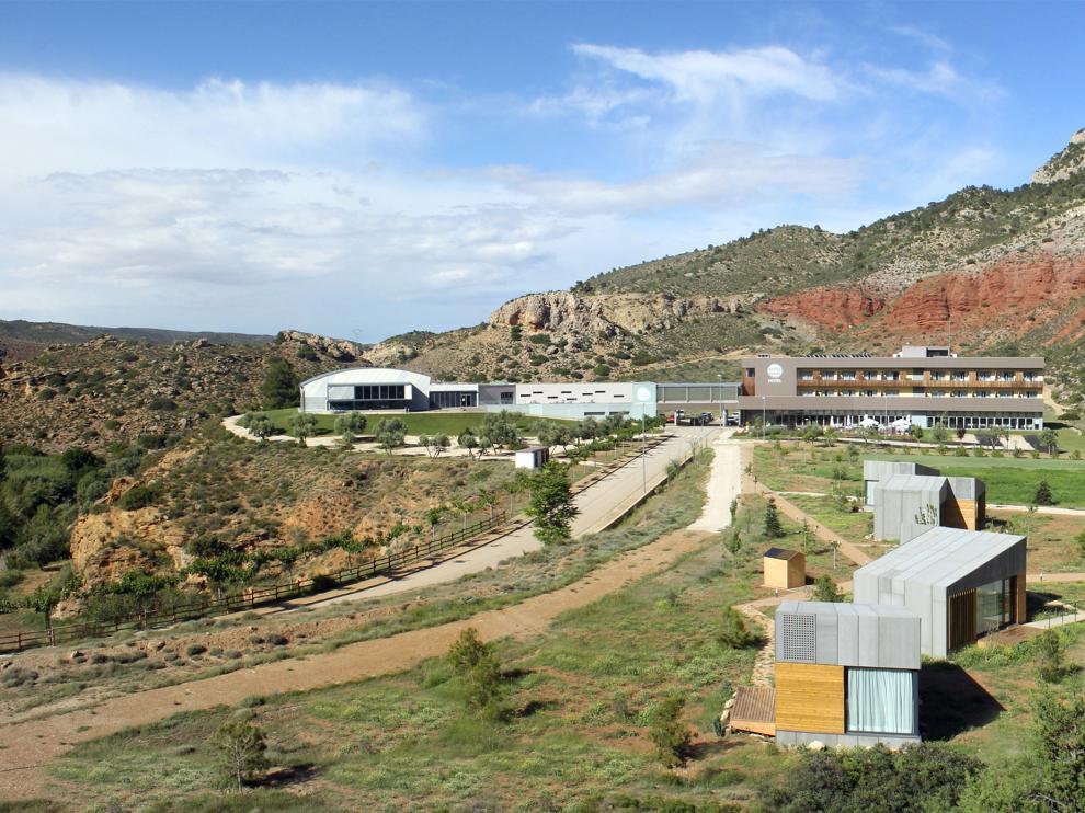 Vista panorámica de las instalaciones del Balneario de Ariño.