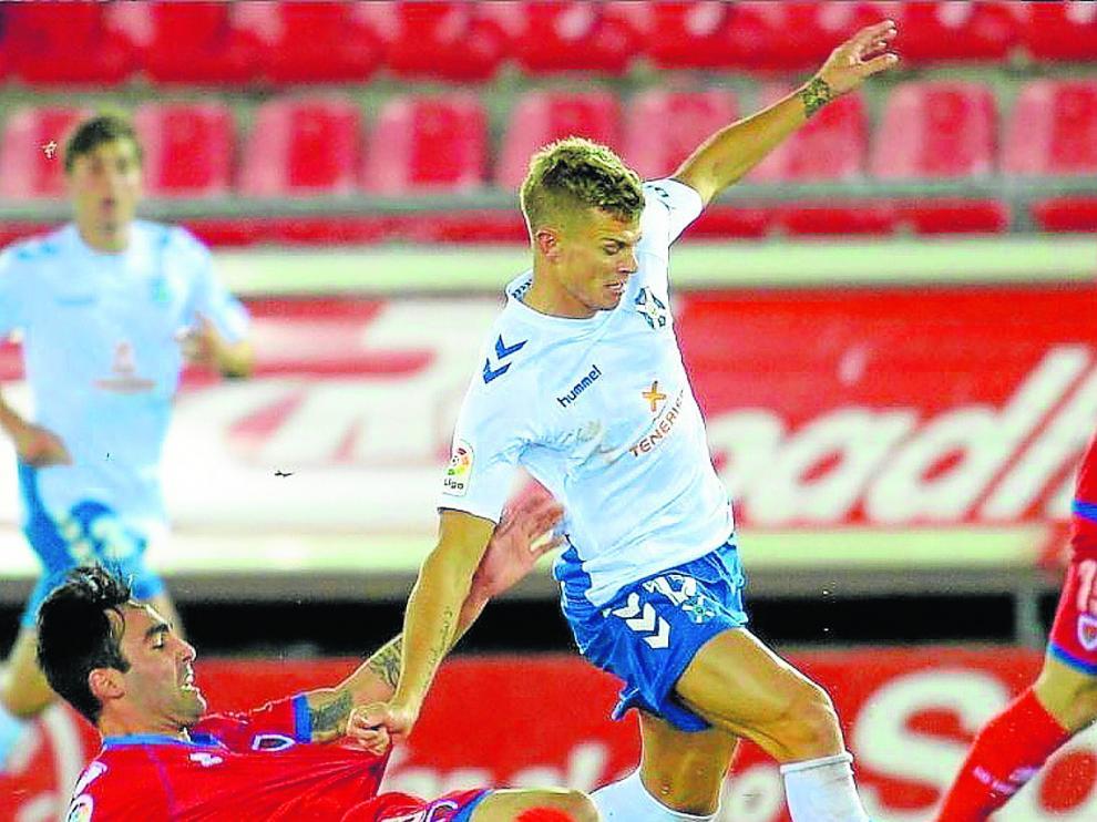 Samuele Longo, en un partido de la pasada temporada con el Tenerife.