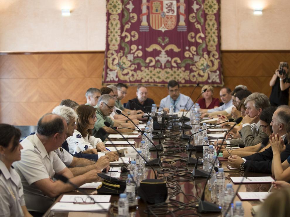 Reunión institucional contra la violencia de género celebrada este martes en la Delegación del Gobierno en Aragón.