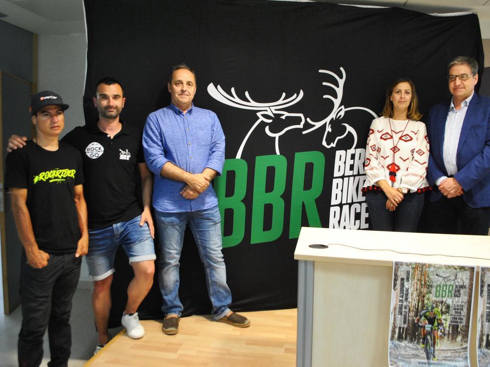 Milton Ramos, Tomás Almazán, Luis Marquina, Rosa María Sánchez y Mariano Soriano, en la presentación de la prueba