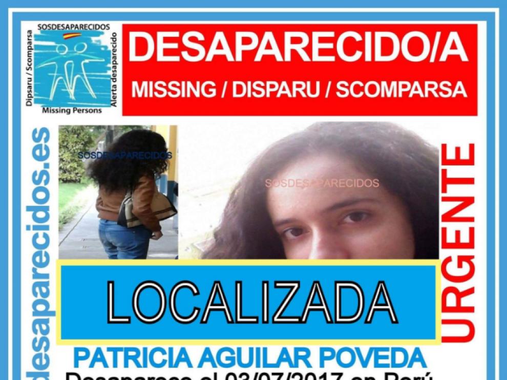 Cartel de SOS Desaparecidos de Patricia Aligar