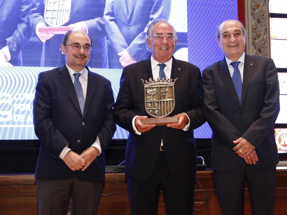 El presidente del Gobierno de Aragón, Javier Lambán, durante la III Cumbre por la Competitividad.