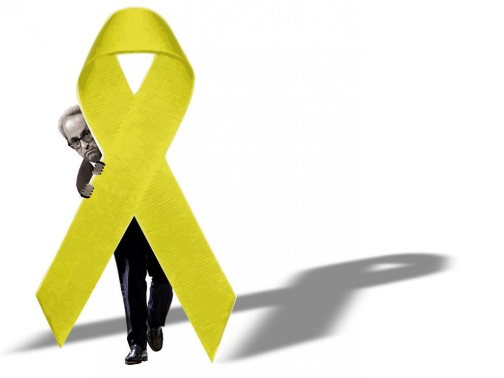 El lazo amarillo sirve de parapeto a las mixtificaciones del independentismo catalán.