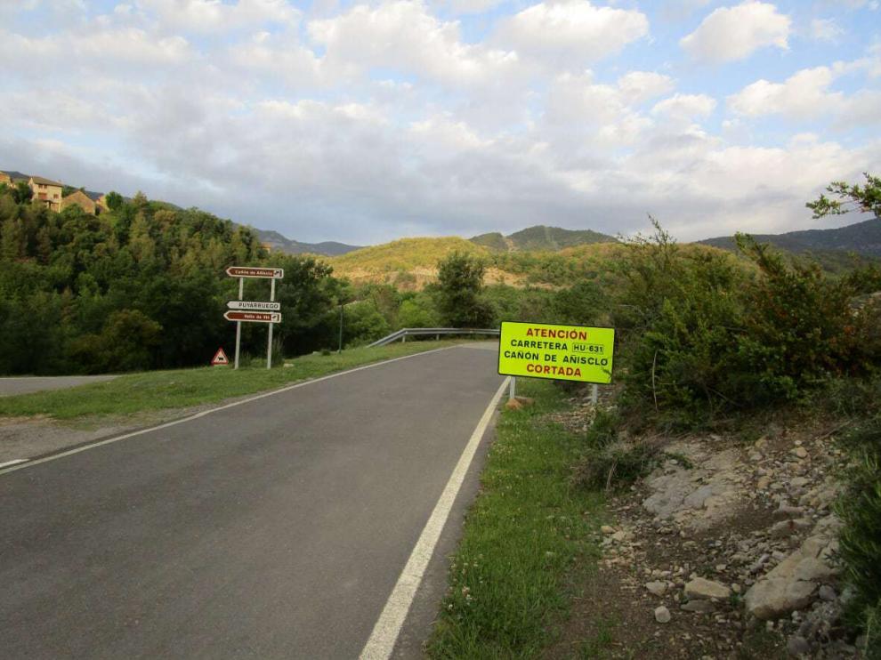 El acceso a la carretera del cañón de Añisclo permanece cortado desde abril de 2017.