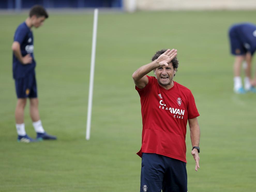Imanol Idiakez, en el entrenamiento del Real Zaragoza