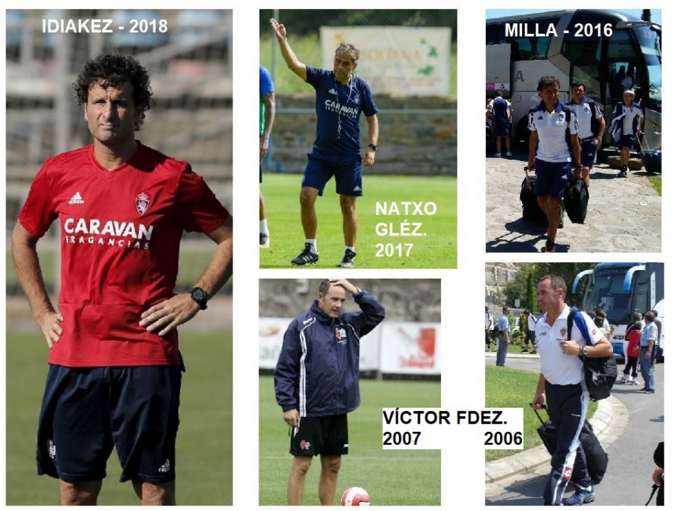 El elenco de entrenadores del Real Zaragoza en sus presencias estivales en Boltaña (Huesca).
