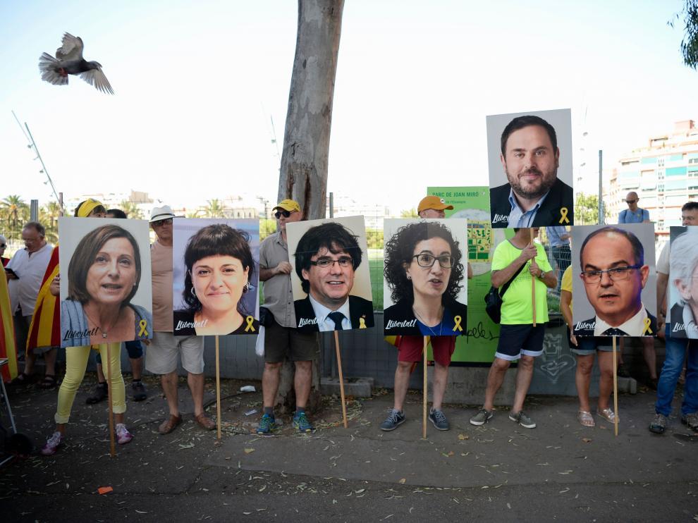 Manifestación en Barcelona por los políticos presos y huidos.