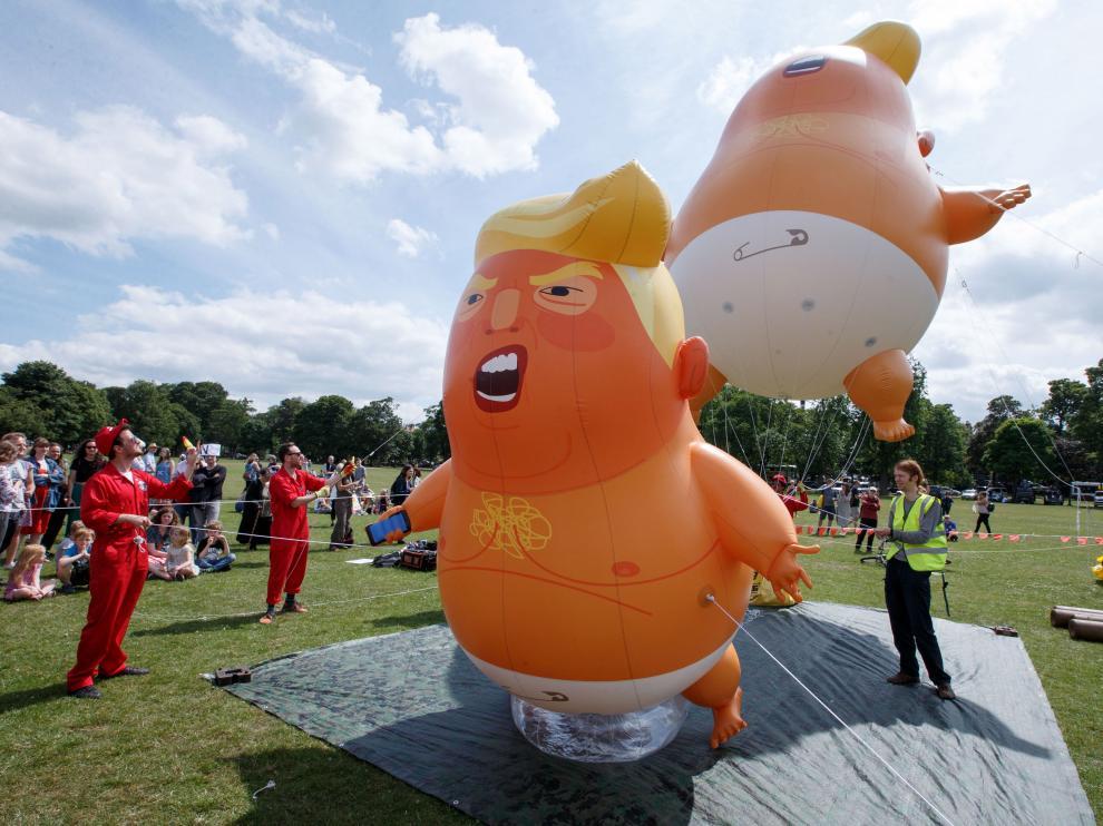 Donald Trump está de visita en Reino Unido, donde numerosas personas protestan contra él