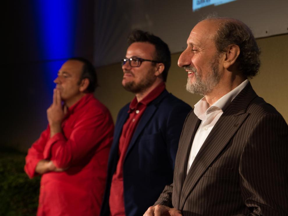 Ignacio Estaregui, director de 'Miau' junto a uno de sus productores, Jaime García Machín y su protagonista, José Luis Gil en la segunda sesión del festival