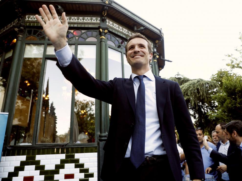 Pablo Casado, durante un acto de fin de campaña.