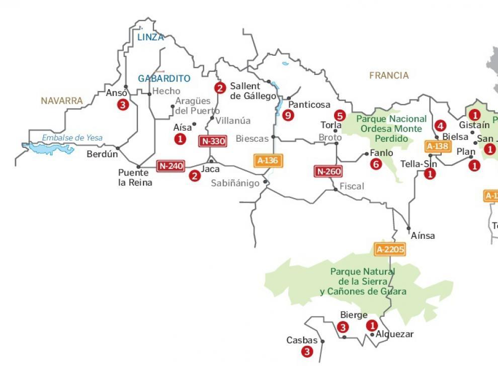 Localización de las intervenciones realizadas en el último mes.
