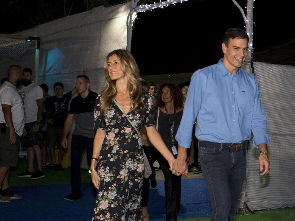 Pedro Sánchez y su mujer, Begoña Gómez, en un viaje a el FIB para ver a 'The Killers'.