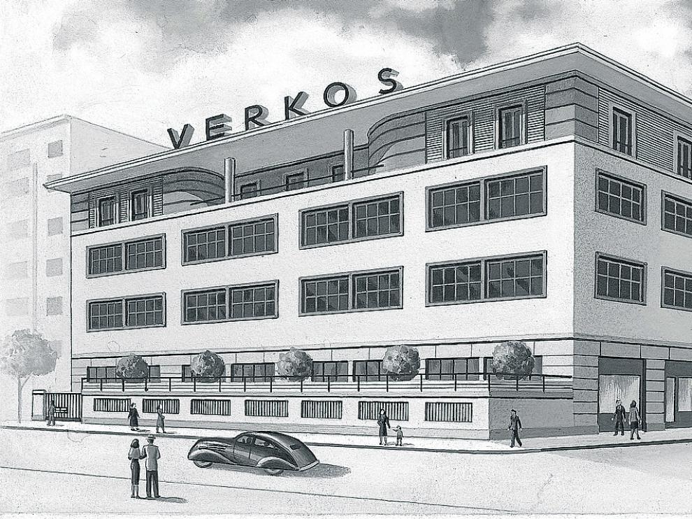 Acuarela original del edificio en la calle Cervantes donde se ubicaba Verkos Laboratorios en 1938.
