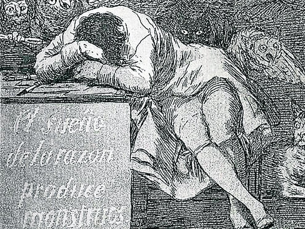 """Goya fue un maestro del aforismo en sus grabados, como se ve en este detalle magistral: """"El sueño de la razón produce monstruos""""."""