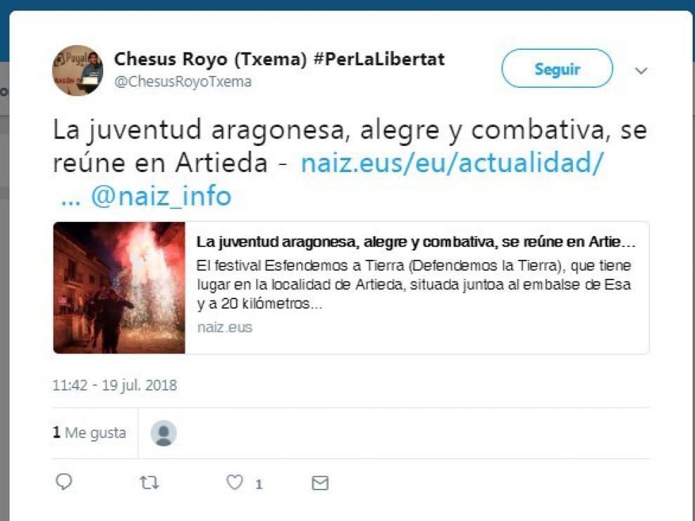 Tuit emitido hace apenas unos días por el activista Txema Royo (que ha sido expulsado del partido) en su cuenta de Twitter.