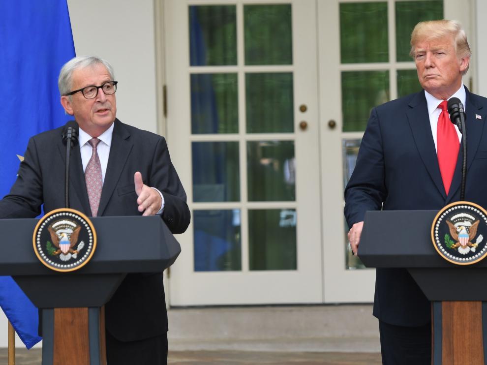 Jean-Claude Juncker, presidente de la Comisión Europea y Donald Trump, presidente de Estados Unidos.