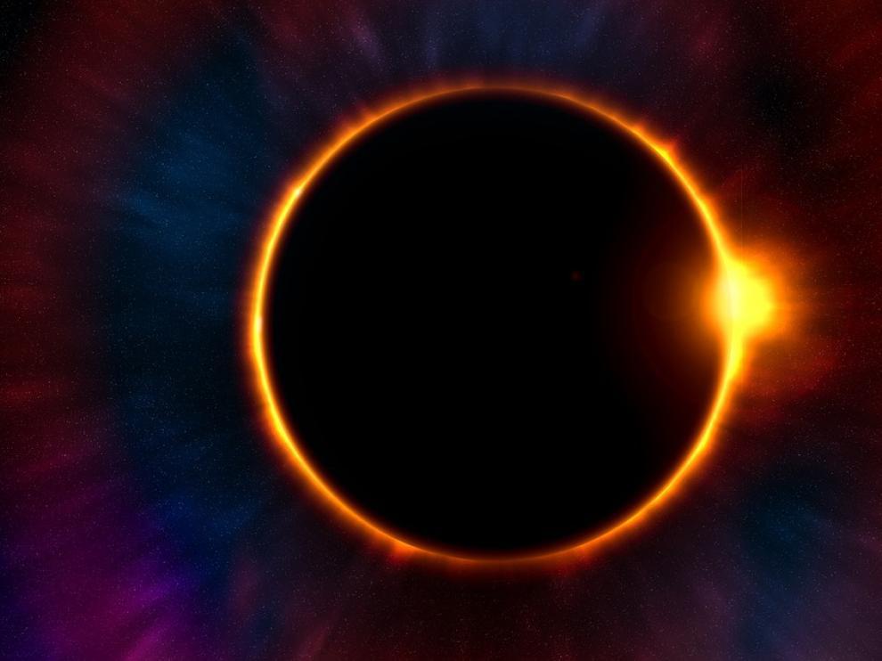 El eclipse lunar está provocado por la alineación del sol, la tierra y la luna.
