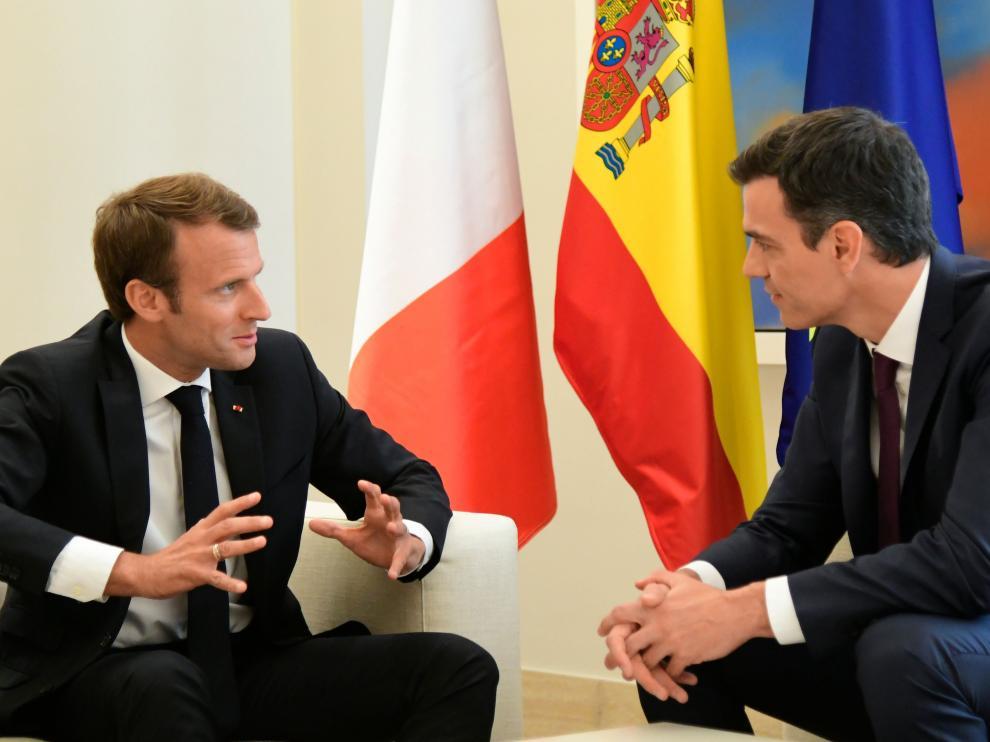 Emmanuel Macron y Pedro Sánchez, durante su reunión en La Moncloa.