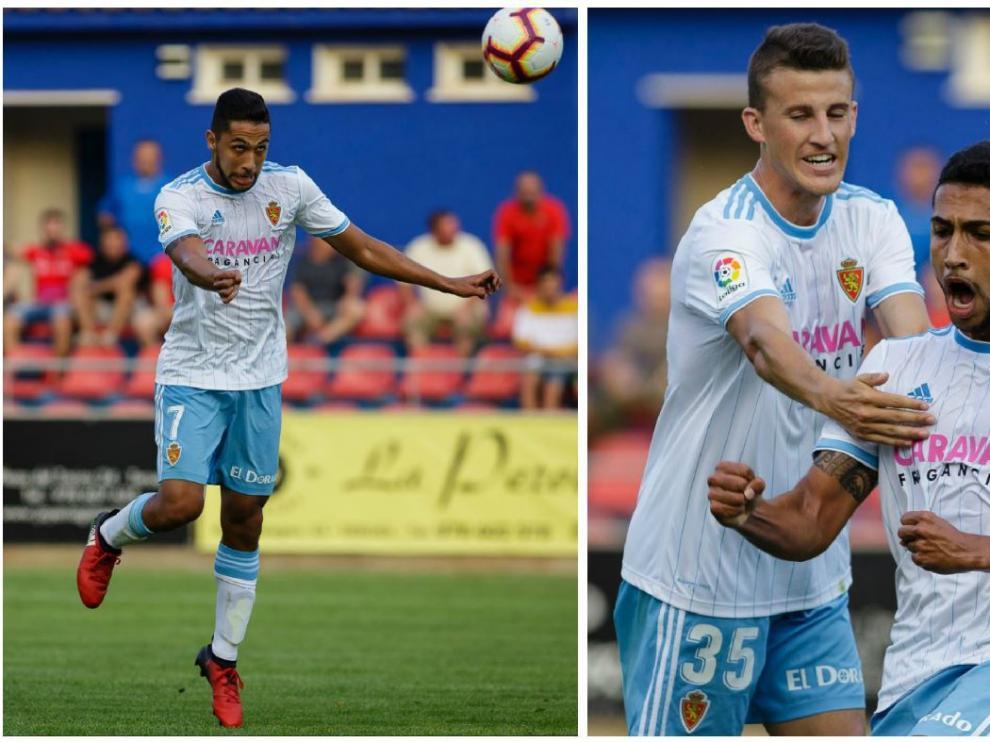 Jeison Medina, en su primer gol como zaragocista, anotado en Teruel este jueves. A la izda., momento en el que acaba de rematar a la red con la cabeza. A la dcha., en su celebración, junto a Nieto.