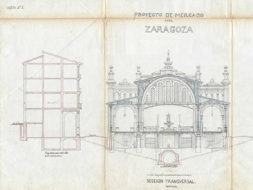 Uno de los alzados que aparecen en el proyecto original del Mercado Central manuscrito por Félix Navarro.