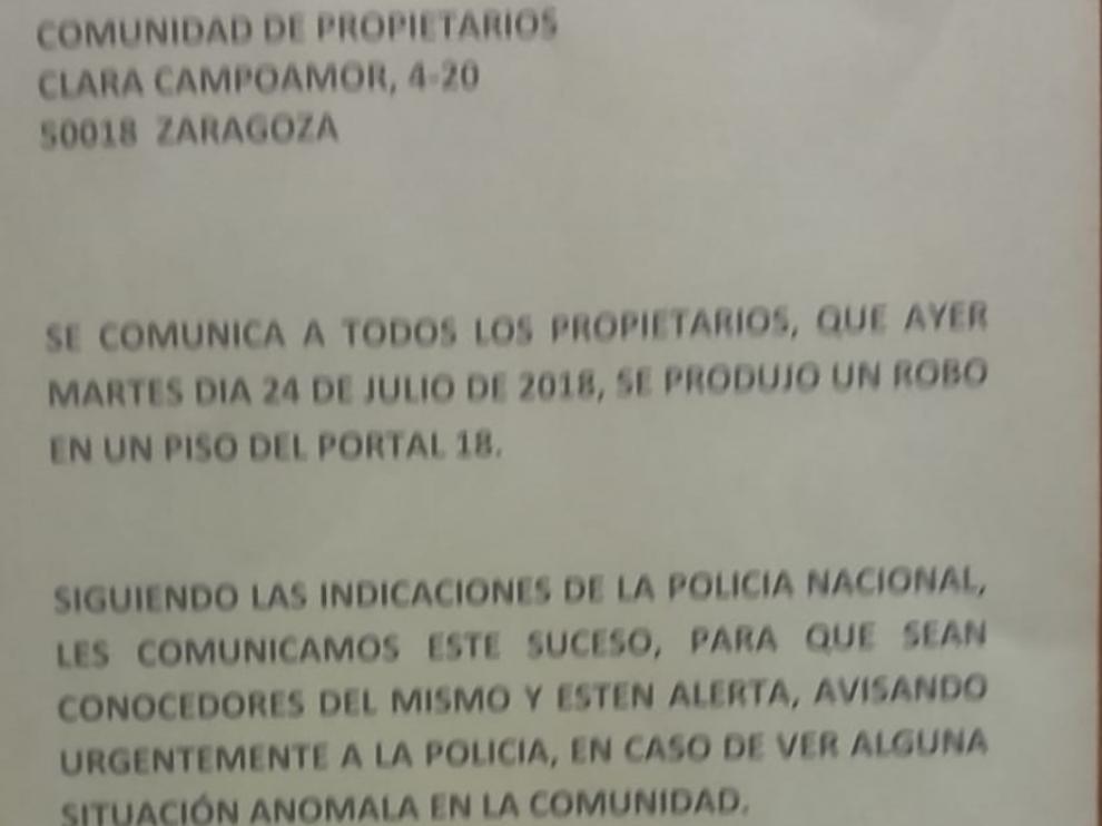 Nota de la Comunidad de vecinos de una urbanización del barrio del Actur alertando de los robos cometidos en las viviendas de la zona en las últimas semanas.