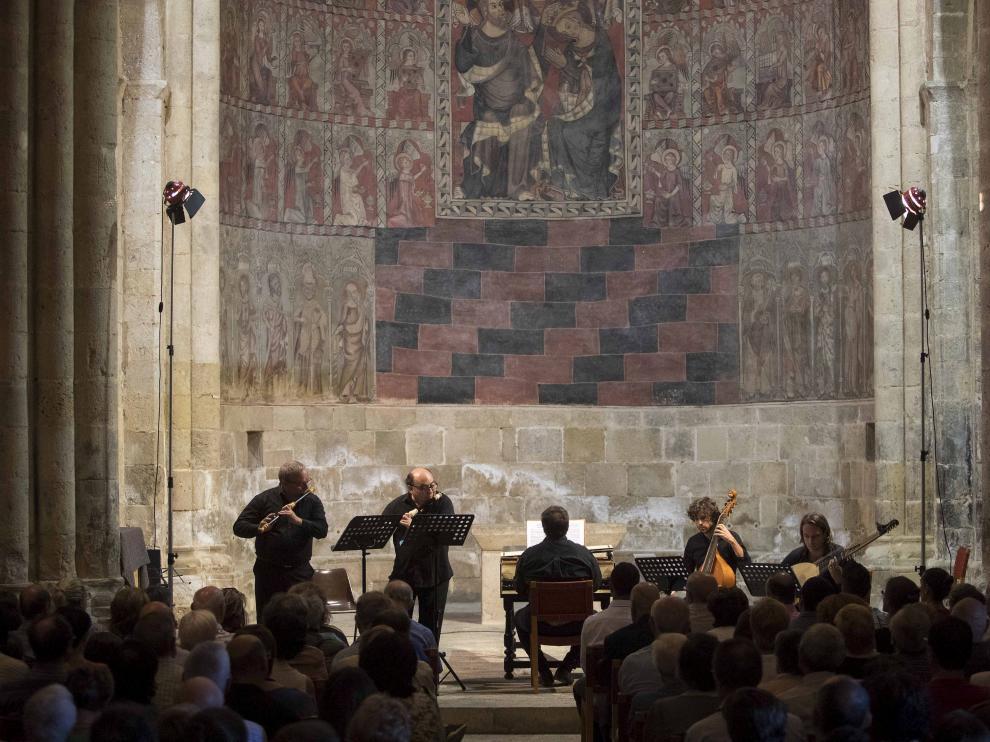 El quinteto Flatus Ensemble Suisse llenó la iglesia de San Miguel de Daroca el año pasado.