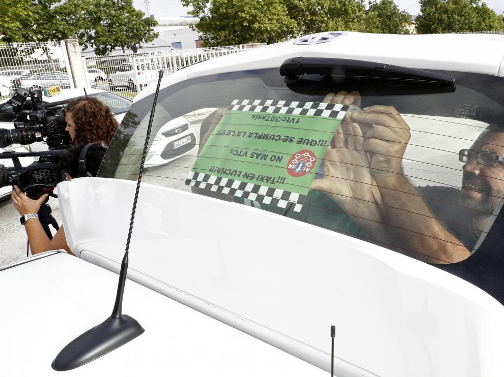 Huelga de taxistas en Pamplona.