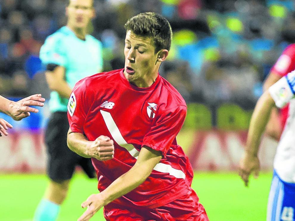 Marc Gual, en el partido contra el Real Zaragoza de la pasada temporada en La Romareda.