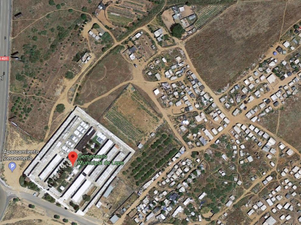Vista aérea del asentamiento en el que se ha producido el incendio.