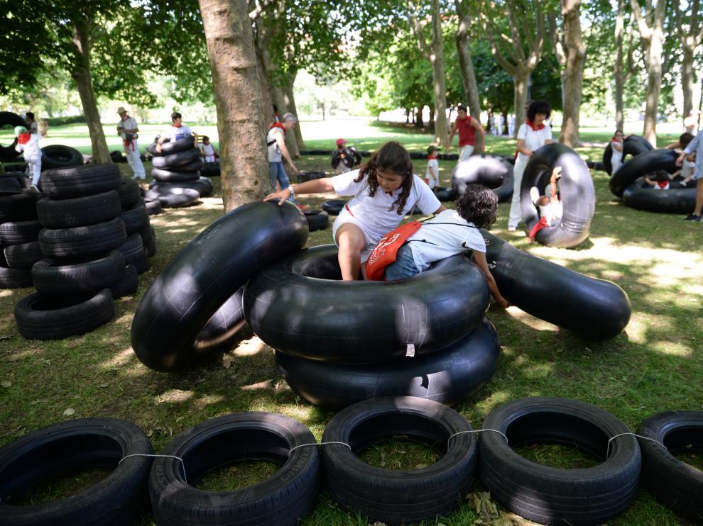El parque infantil Birjolastu de las fiestas de San Fermín de julio de este año.