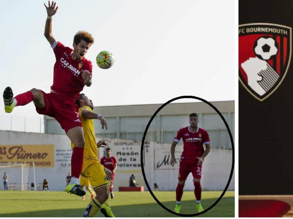 Rico (izda. enmarcado), hace justo 3 años con el Real Zaragoza en el amistoso jugado en verano ante el Alcorcón en Calatayud. A la dcha., al ser presentado por el Bournemouth inglés en las últimas horas tras ser fichado del Leganés.