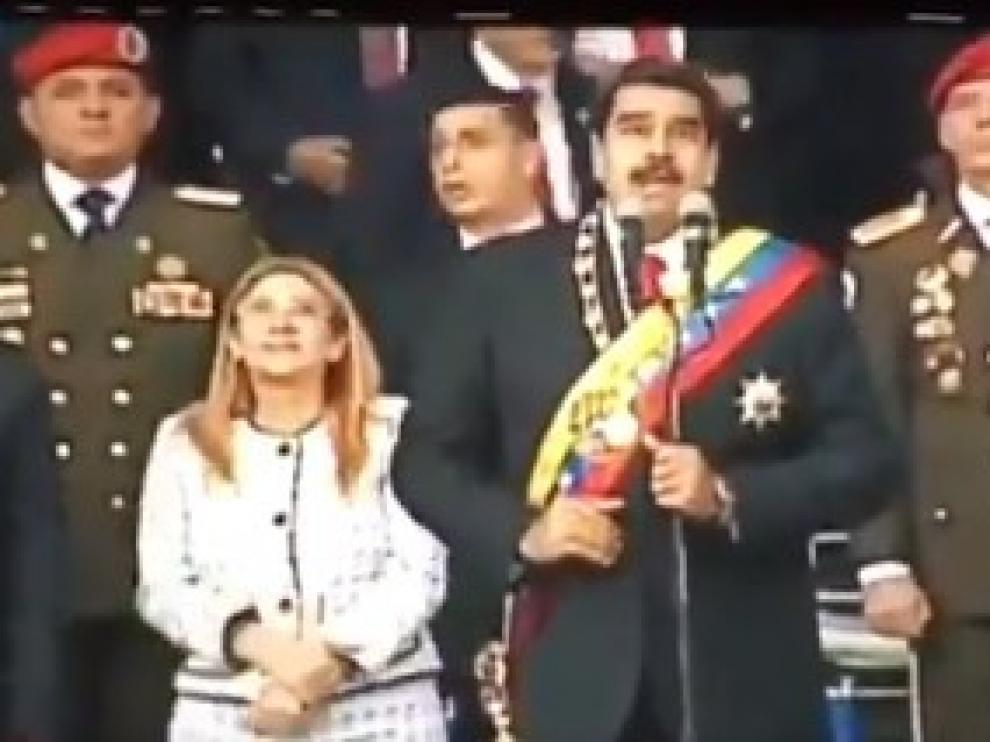 Maduro, en el momento de la supuesta explosión.