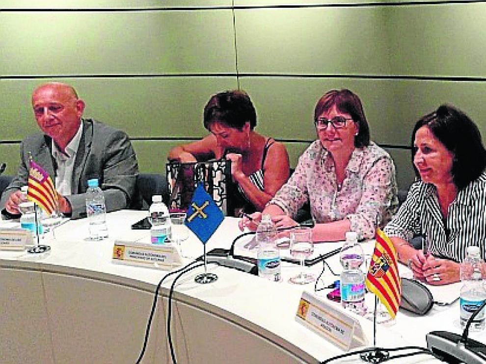 Teresa Sevillano –a la derecha–, durante el Consejo Sectorial de Inmigración celebrado en Madrid.