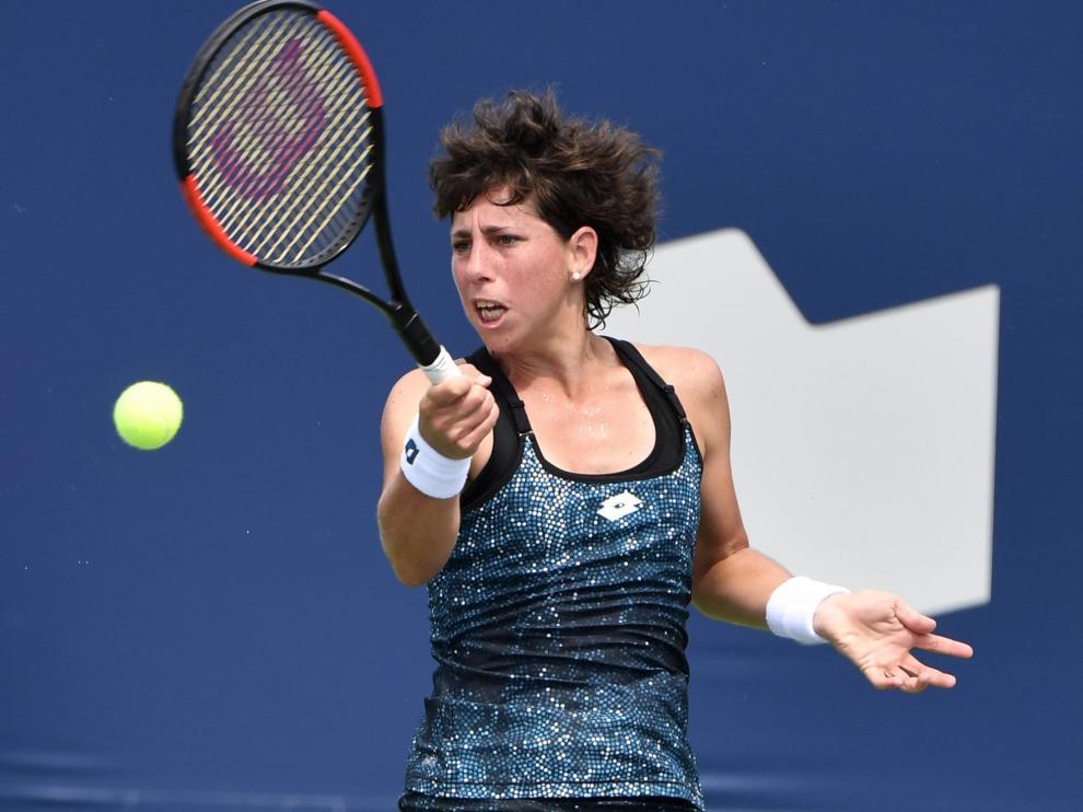 La tenista española Carla Suárez, en un partido de esta temporada.