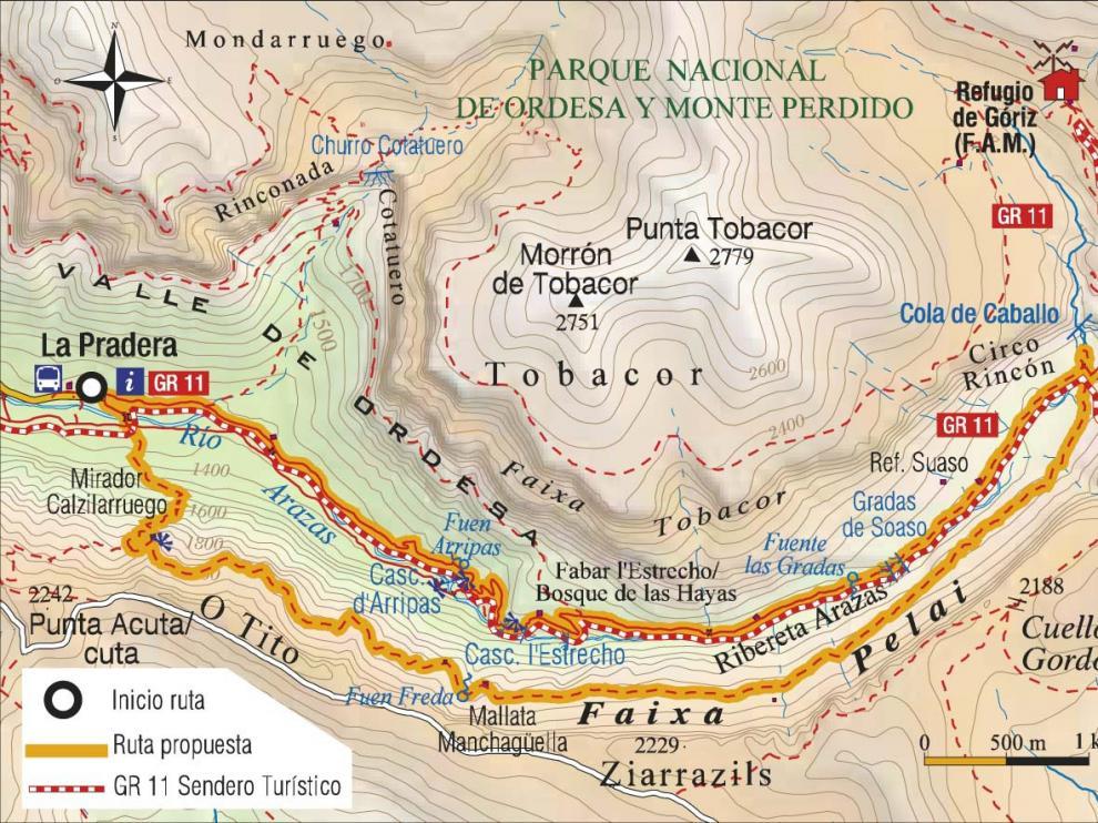 Mapa ruta circular Ordesa.