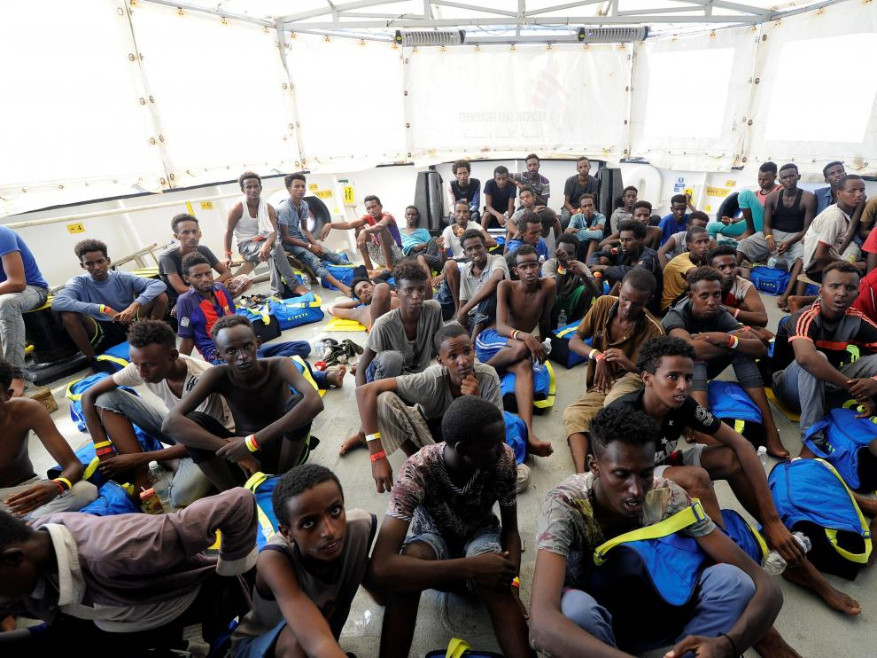 Inmigrantes africanos a bordo del 'Aquarius'.