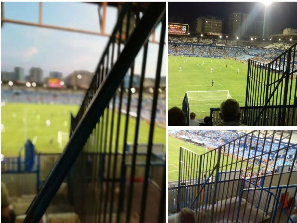 Tres perspectivas del problema serio de visión que afecta a muchas localidades de la Tribuna Gol Norte y que será subsanado por el club de aquí al domingo.