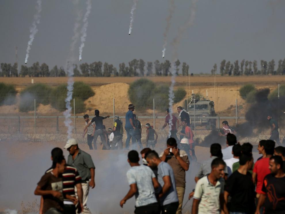 Protestas en la frontera entre Gaza e Israel.