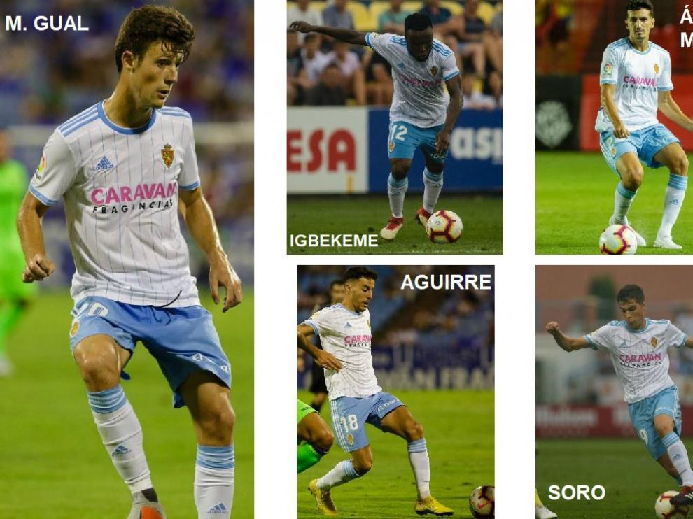 Los nuevos jugadores zaragocistas que pueden debutar este domingo.