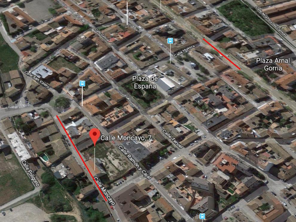 Lugar del atropello y calle en la que fue localizado el coche