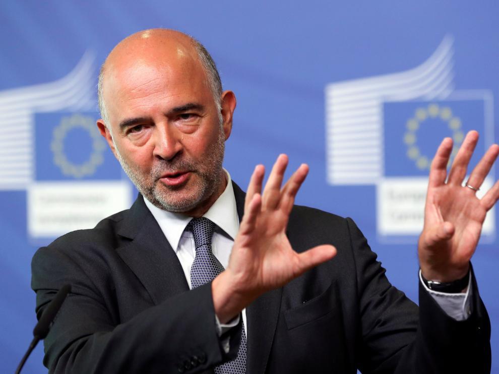 El comisario europeo de Asuntos Económicos, Pierre Moscovici, durante la rueda de prensa sobre la situación de Grecia en Bruselas.