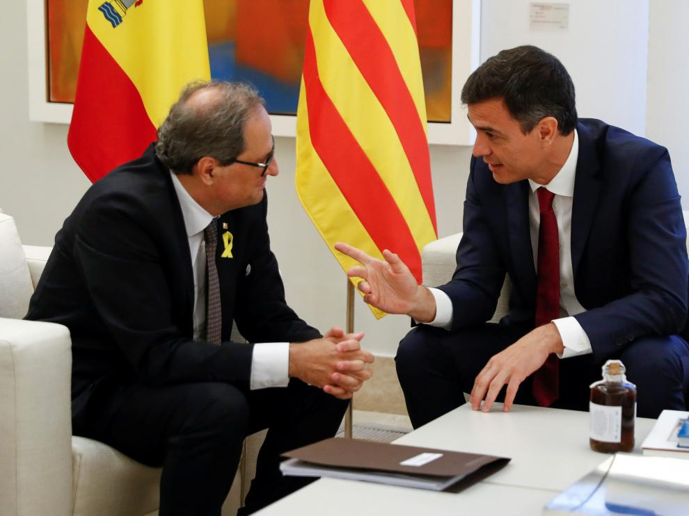 Quim Torra y Pedro Sánchez, durante una reunión en la Moncloa el pasado mes de julio.