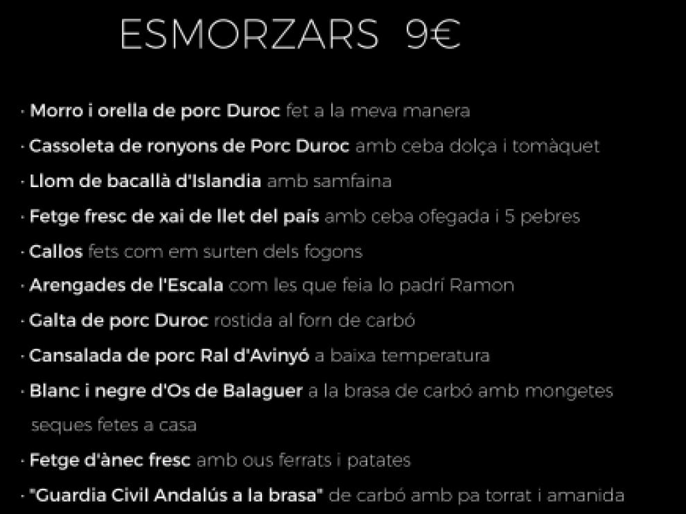 'Guardia Civil andaluz a la brasa', entre los polémicos platos que incluye el menú de un restaurante en Lérida