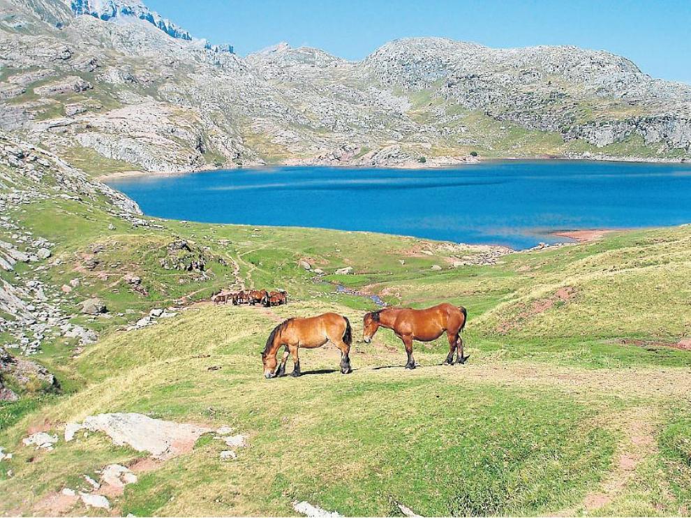 Una imagen idílica del ibón de Estanés, uno de los más bonitos del Pirineo aragonés.
