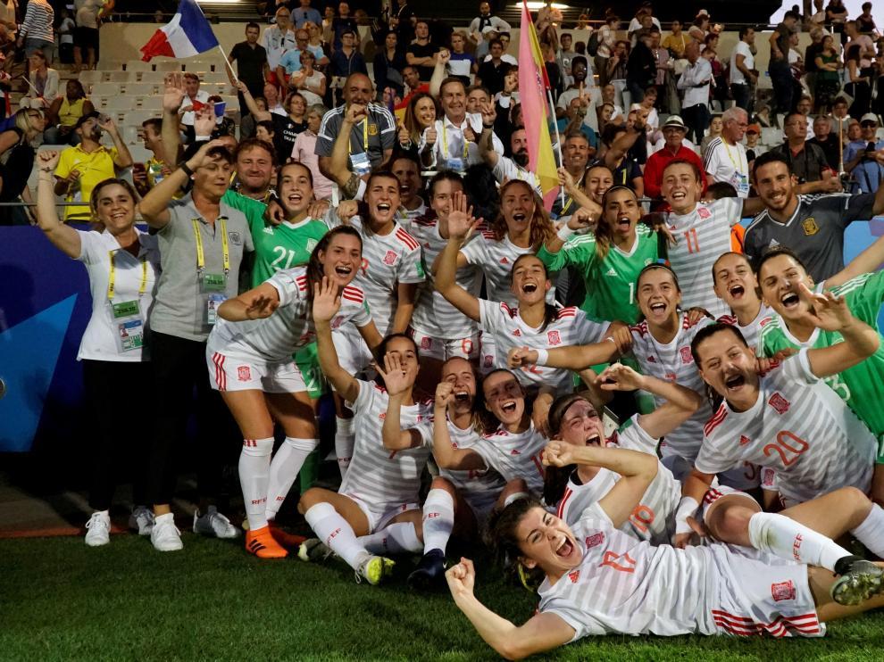 La selección sub 20 celebra el pase a la final tras derrotar a Francia