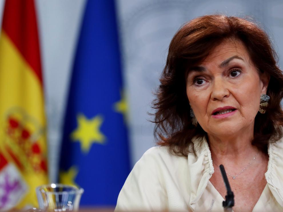 La vicepresidenta del Gobierno, Carmen Calvo, este viernes.