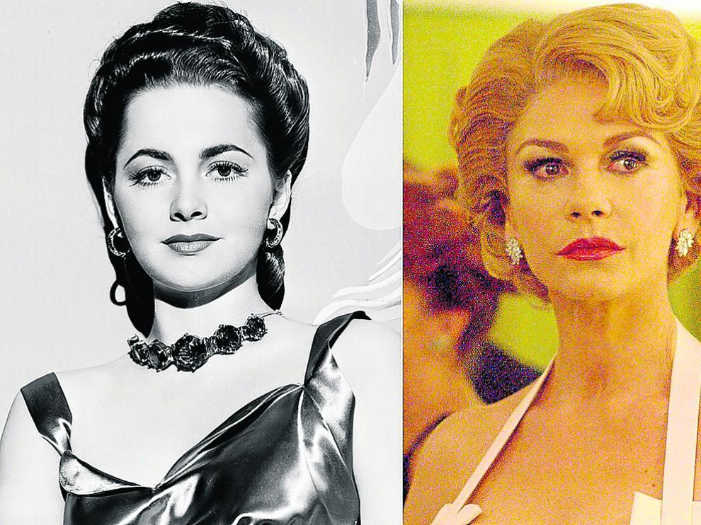 A la izquierda, una joven Olivia de Havilland. A la derecha, interpretada por Catherine Zeta Jones.