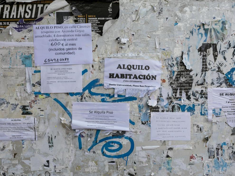 Pisos en alquiler en un tablón de la Universidad de Zaragoza.