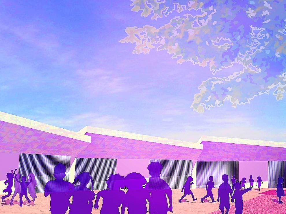 La infografía muestra el aspecto que tendrá el nuevo edificio para los alumnos de infantil que está diseñando el arquitecto Juan Carlos Salas, que se encarga de redactar el proyecto cuyo contrato adjudicó la DGA hace unos días.